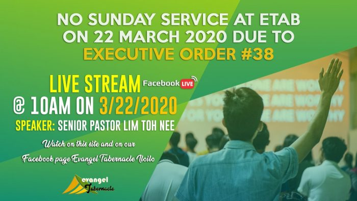 No Sunday Service at Etab On 22 March 2020